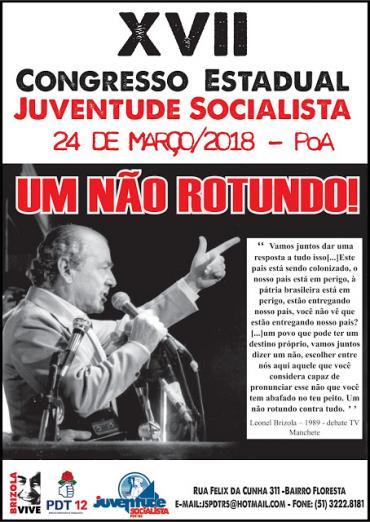 Juventude Socialista realiza seu XVII Congresso Estadual